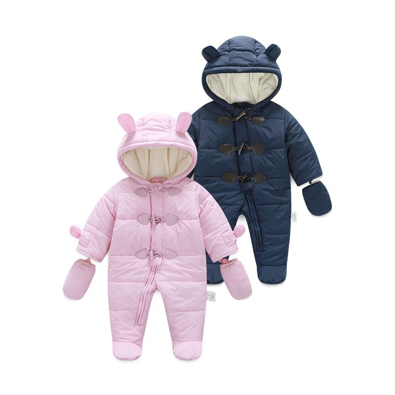 bcb00fcbee6b Winter Baby Rompers Thick Warm Cute pink baby Girls Clothes Kid ...