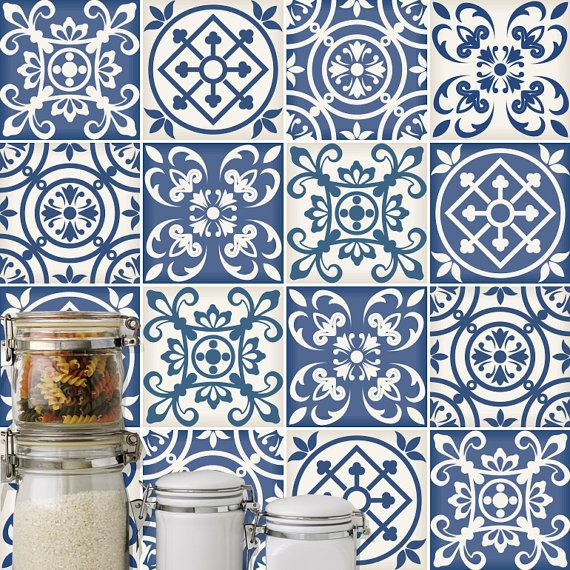 Traditional spanish blue decor tile decal kitchen - Pegatinas azulejos bano ...