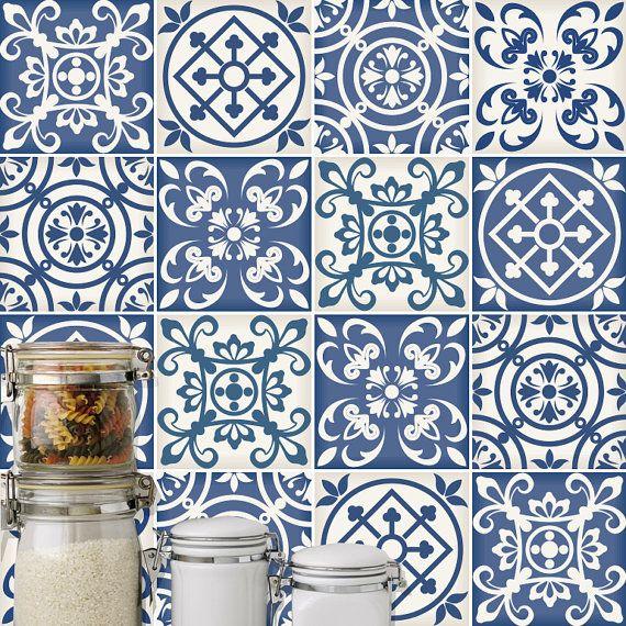 Traditional spanish blue decor tile decal kitchen for Pegatinas azulejos cocina