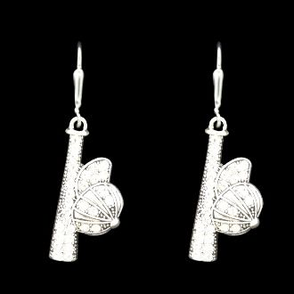 Baseball Bat and Ball Earrings All of our products are lead, nickel, and cadmium free and coated to protect from tarnishing. The charms are standard medium sized, and measure around one inch. Charms are casted in pewter, plated with sterling, then antiqued to show the beautiful detail of each piece.