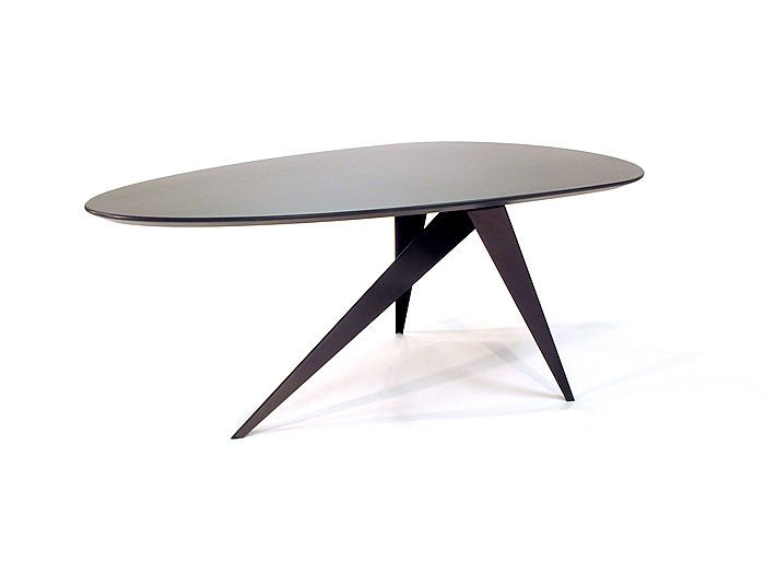 Egg Shaped Table three steel legs support an egg shaped table top. the egg shaped