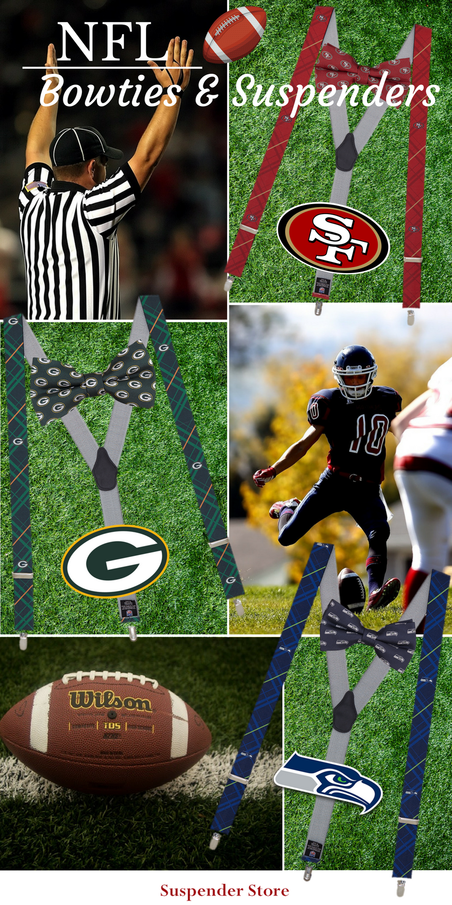 """Your NFL game day outfit will be """"incomplete"""" without a pair of these  """"sporty"""" football team suspenders! Wear a pair to the neighborhood party or  anytime ... d2671121b"""