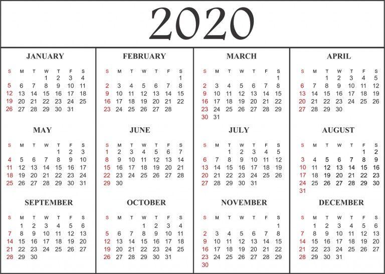 2020 Monthly Calendar Printable Pdf Dengan Gambar