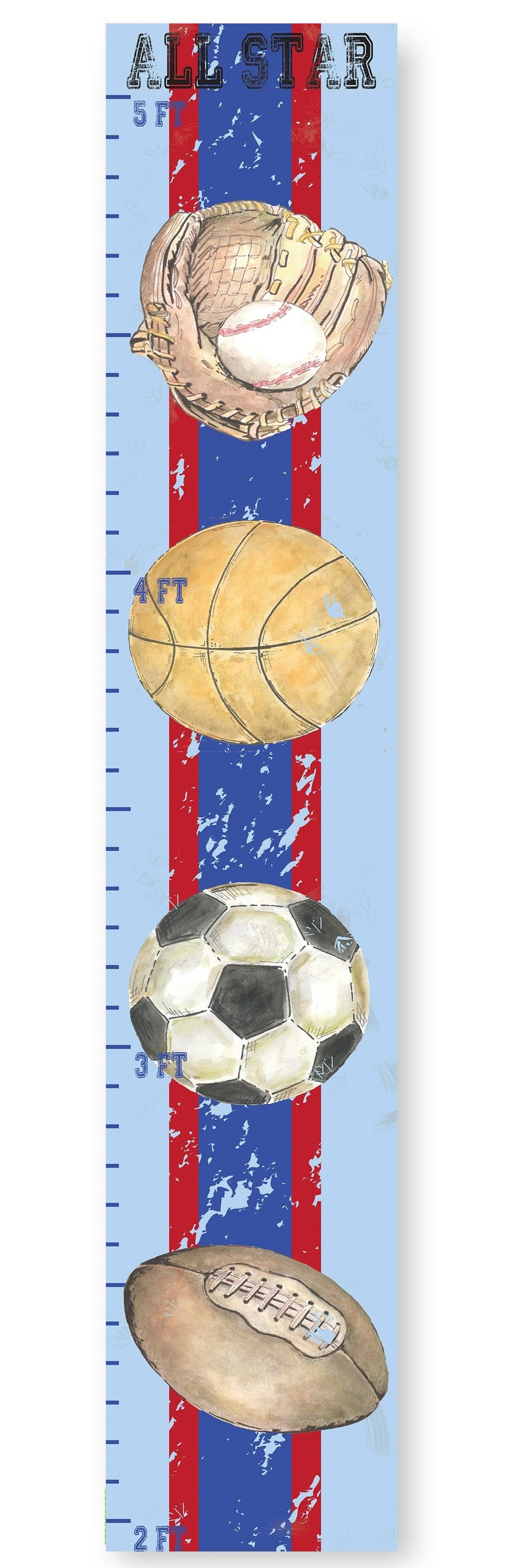 kids room sports growth chart- Stupell Industries 966 x 2943