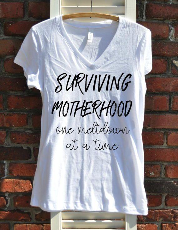 f64824c514 Surviving Motherhood Women's V-neck - Mom Shirt - Mom Life - Gift ...