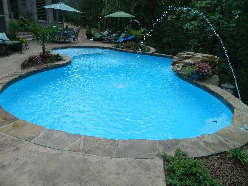 Freeform Flagstone Pool with Deck Jets | Inground pool ...