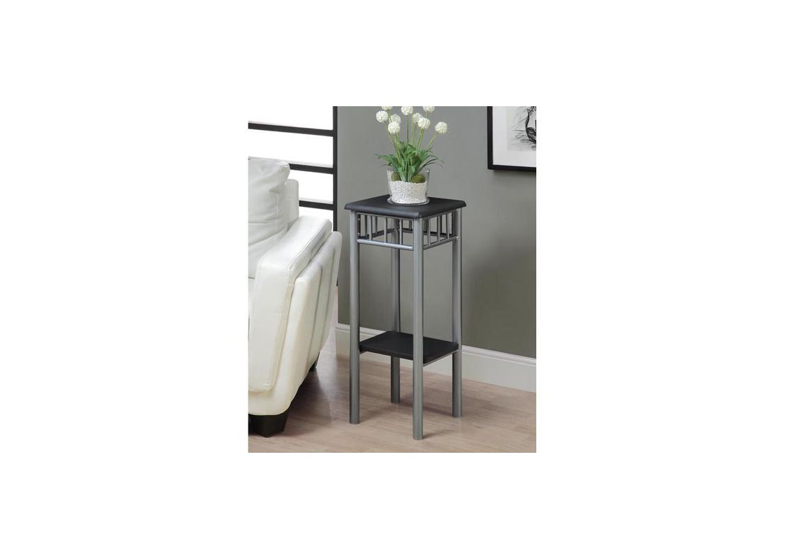 Monarch Specialties Side Table XXV 28 Inch Tall Side Table Black / Silver  Furniture Tables End