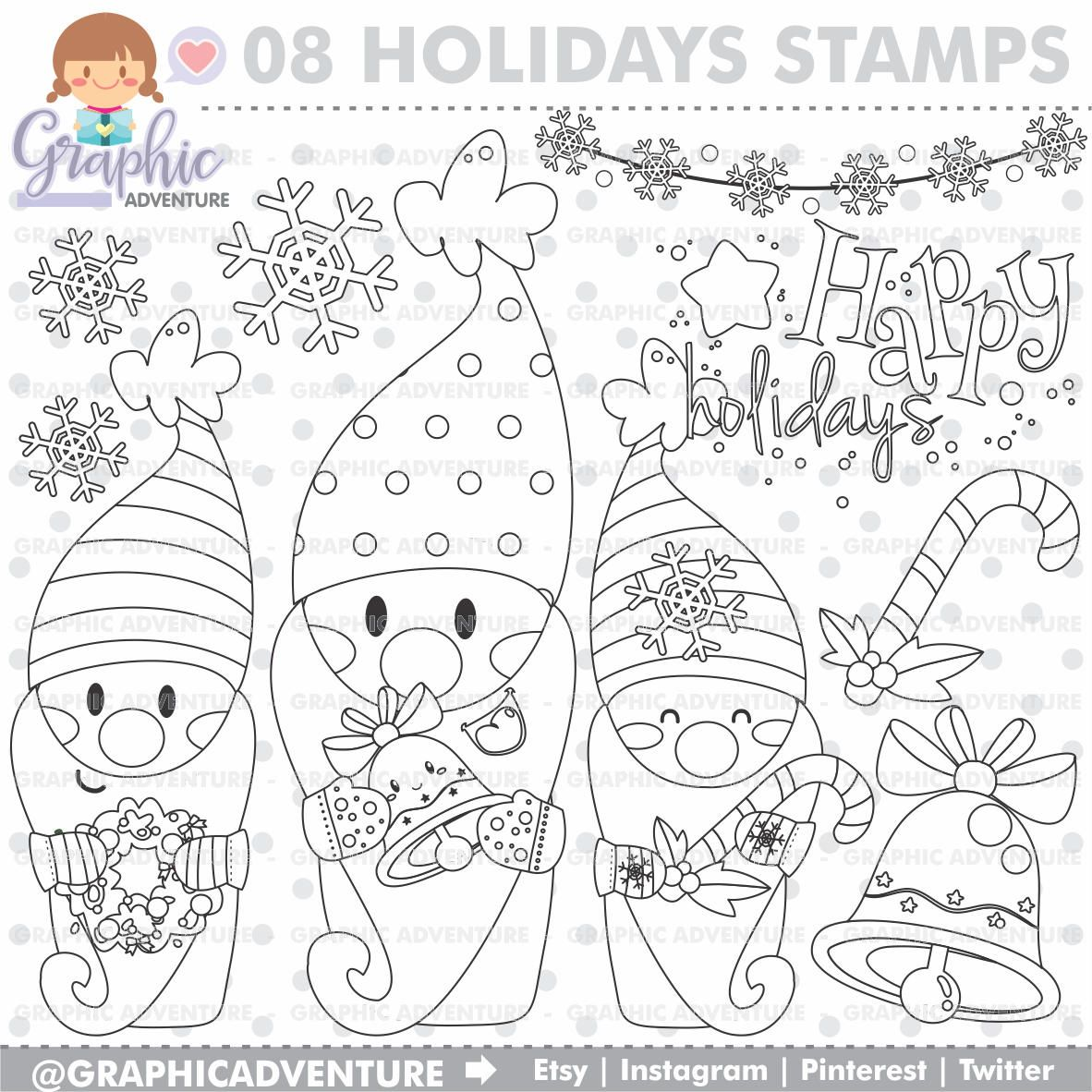 75 Off Christmas Stamps Gnome Stamps Commercial Use Digi Stamp Digital Image Coloring Pages Printable Christmas Coloring Pages Christmas Coloring Books