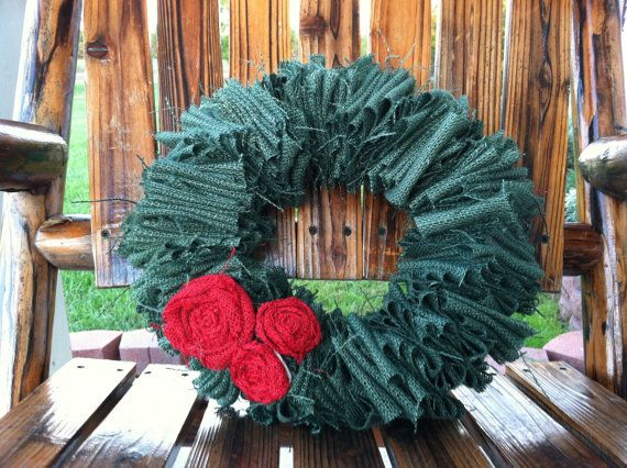 Burlap Christmas/ Hoilday Wreath by cbcraft on Etsy, $30.00