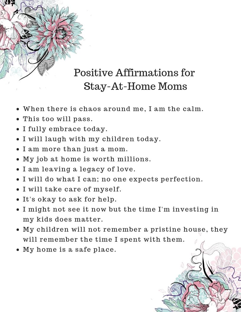 Positive Affirmations for Stay-At-Home Moms Final | Positive ...
