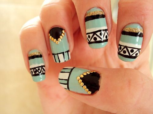 Tribal / Aztec nail art in mint, black, white and gold with studs - Mint Black White Gold Tribal Nail Design - Saw It Here Http