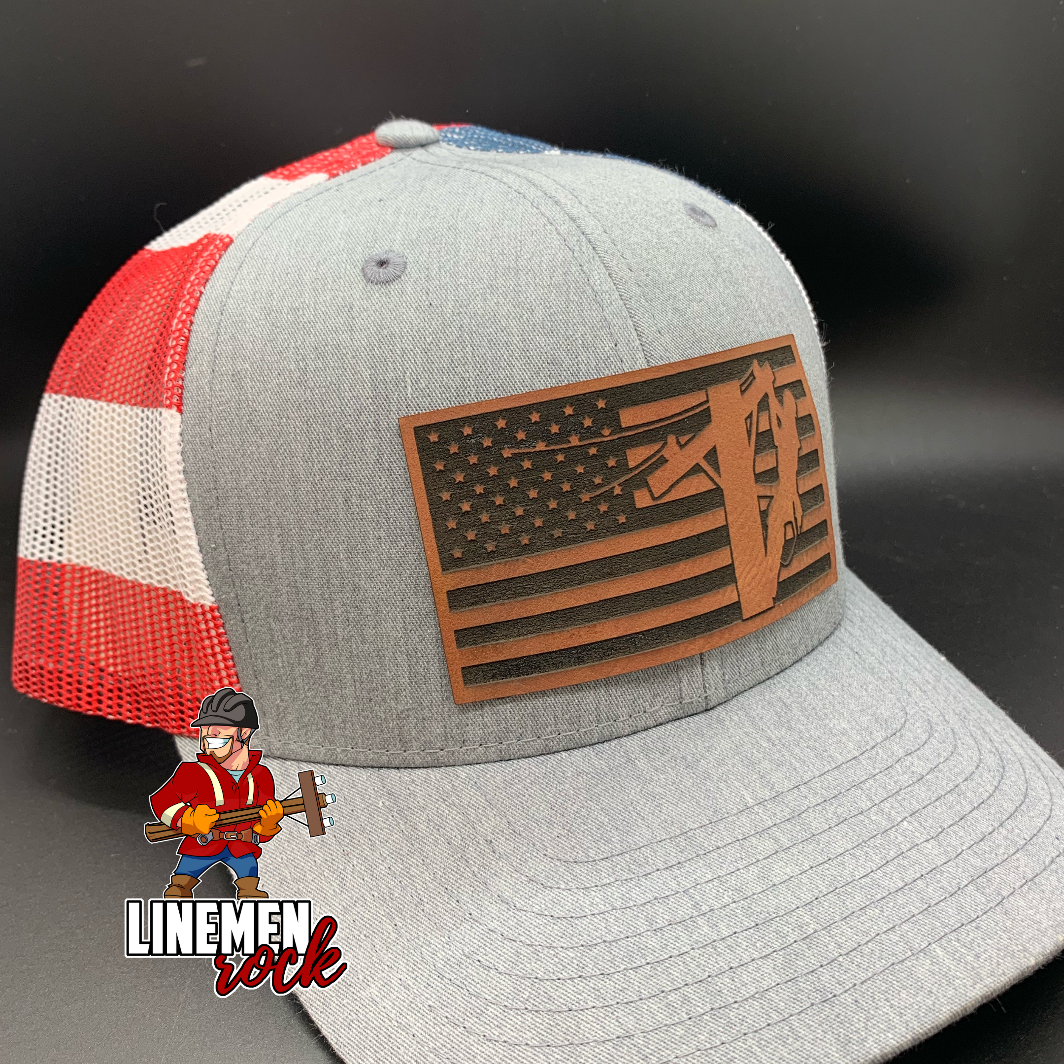 Lineman American Flag On Flag Hat Patriotic Linemen Gift With Images Lineman Gifts