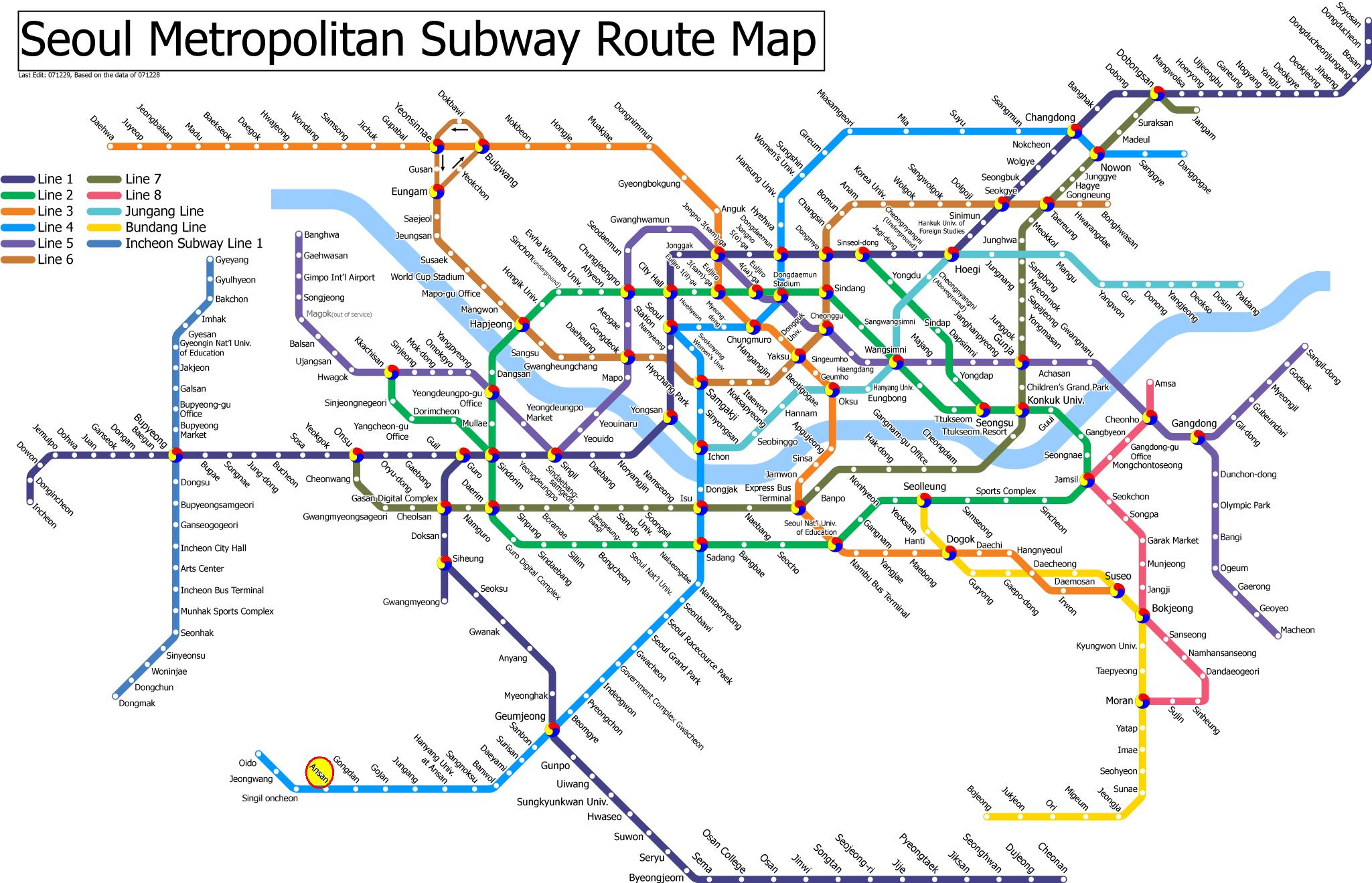 Seoul subway map seoul korea pinterest seoul subway map gumiabroncs Gallery