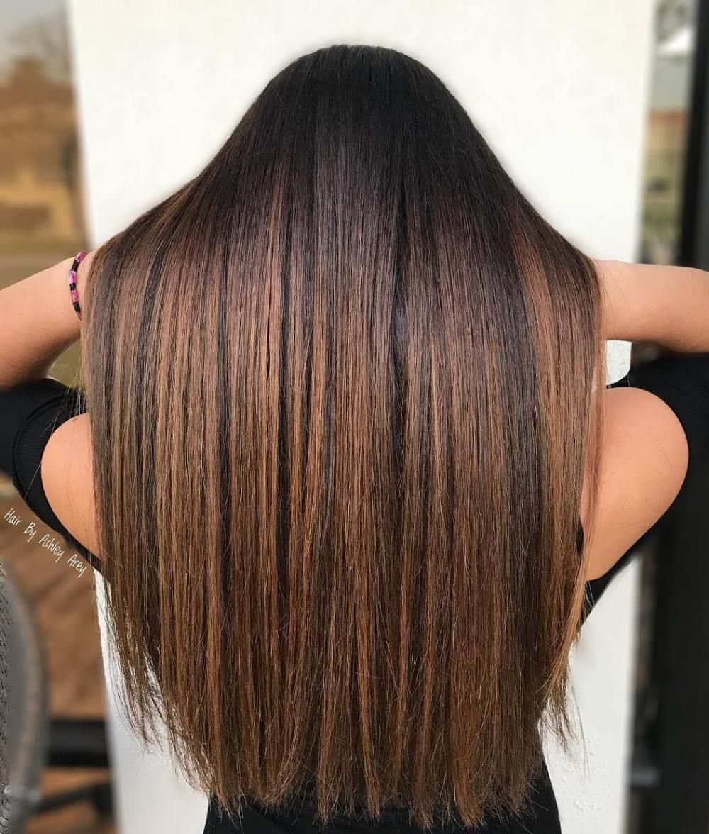 50 Beautiful Hairstyles With C 50 Beautiful Hairstyles With Caramel Highlights Hair Adviser Straight Sleek B In 2020 Brown Straight Hair Hair Highlights Hair Styles
