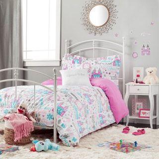 Sparkle Princess White And Purple 5 Piece Comforter Set With Decorative  Pillow