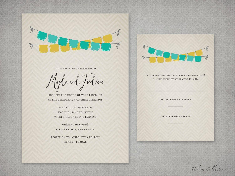 DIY Printable Wedding Invitation: Bunting Flags #DIY Printable ...