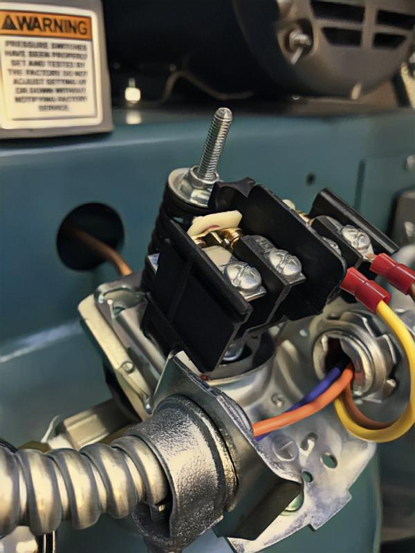 Air compressor pressure switch.