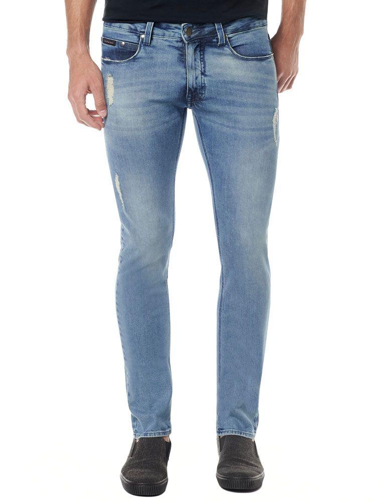 6a1ad092e0669 Calça Calvin Klein Jeans Five Pockets Azul Médio - Calvin Klein ...