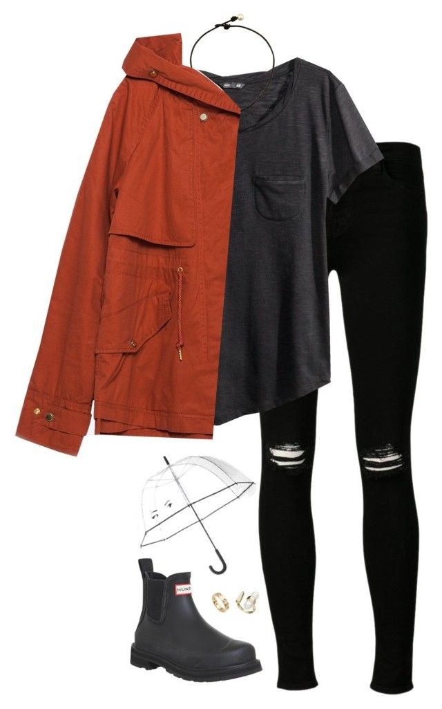 """""""stormed"""" by tessorastefan ❤ liked on Polyvore featuring J Brand, H&M, Zara, Hunter, Kate Spade, Cartier and Kendra Scott"""