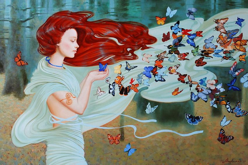 девушка, бабочка, свобода