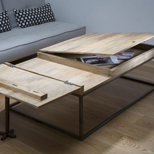 Table Basse En Manguier Et Metal Noir Double Zero Guibox Table