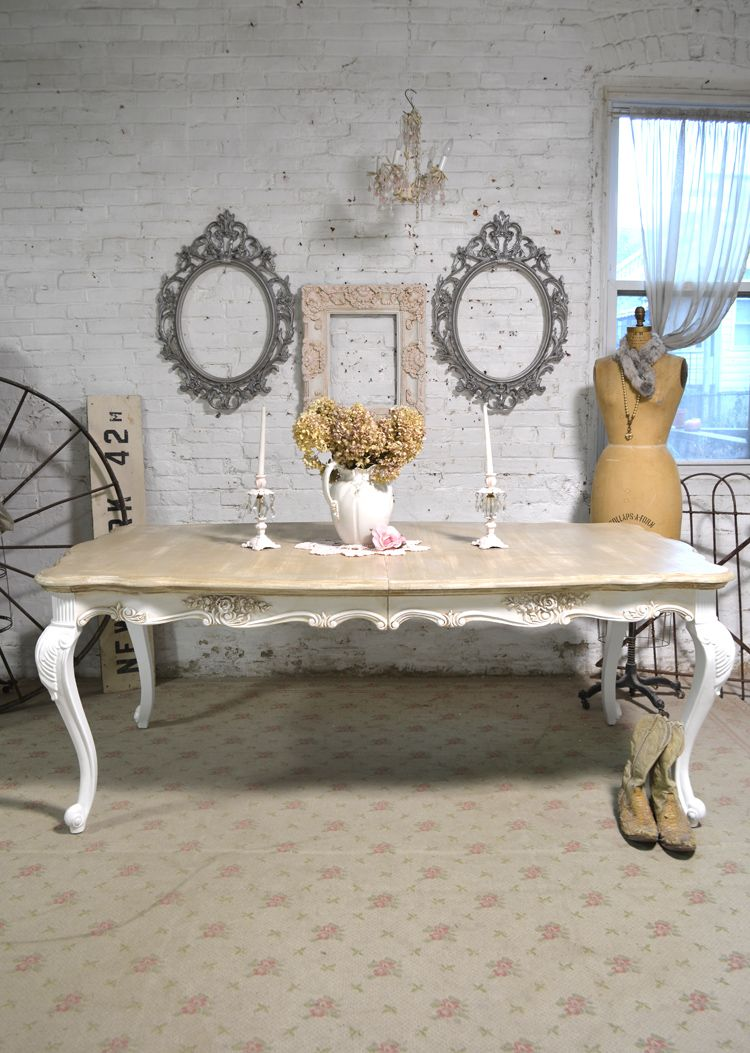 Dining Table Painted Cottage Chic Shabby Teasstain French Dining