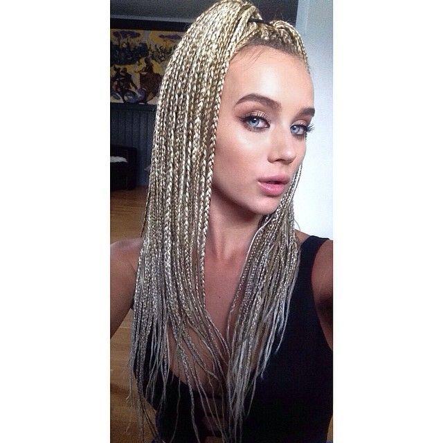 blonde white girls box braids