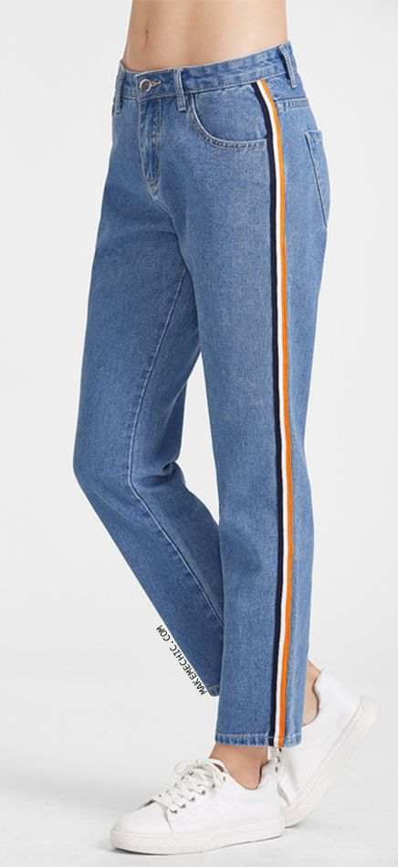 0aeaa330bd Side Striped Tape Straight Jeans