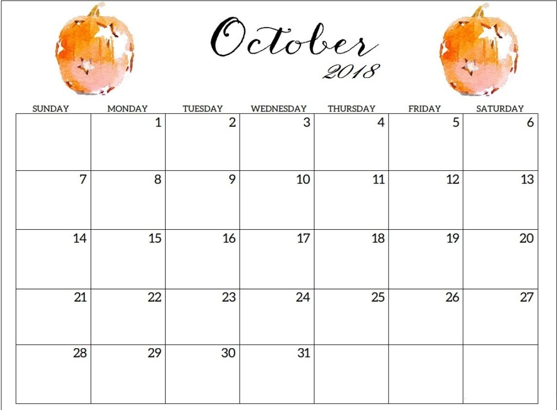 Online Cute October 2018 Calendar
