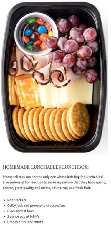 Cut back on the crackers and cheese/add veggies/change ham to turkey or chicken and switch m and ms for trail mix. Healthy lunch for the kids to take to school.