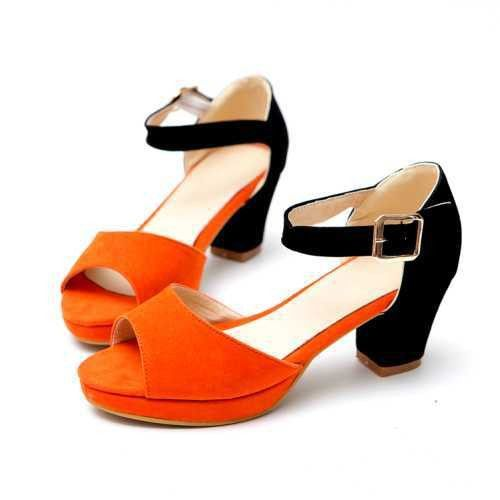 Fashion Mixed Colors Open Toe Buckle Thick High Heels Casual Party Office Sandals Shoes 4 Colors