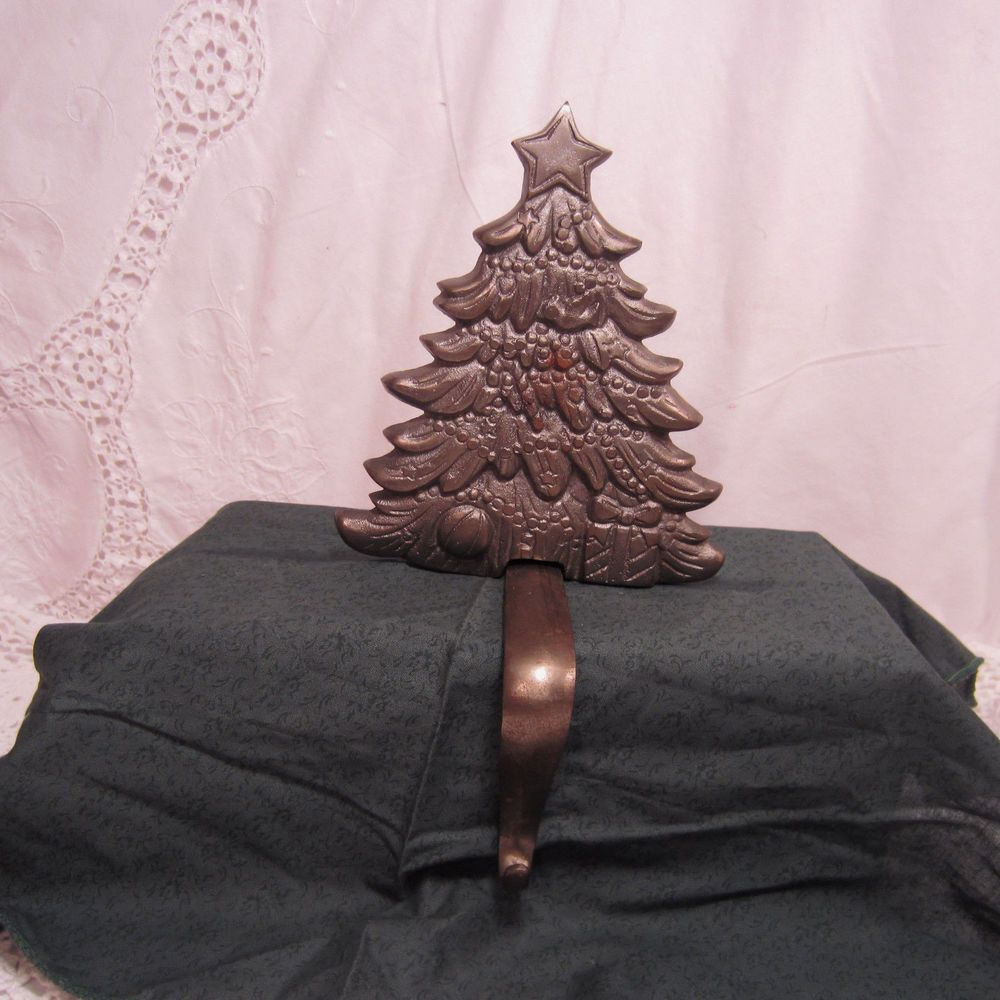 Cast Iron Christmas Tree Mantel Stocking Holder Hook 6 X 5 1 2