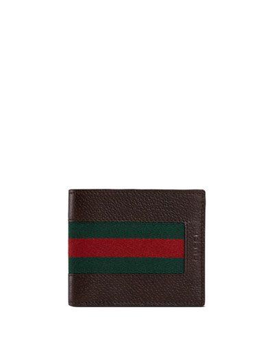 0c4a558aa39 N3HGN Gucci Web Leather Bi-Fold Wallet