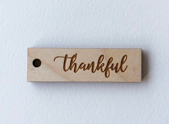 Thankful Tags- Thanksgiving Napkin Ring- One Dozen Engraved Wood #napkinrings