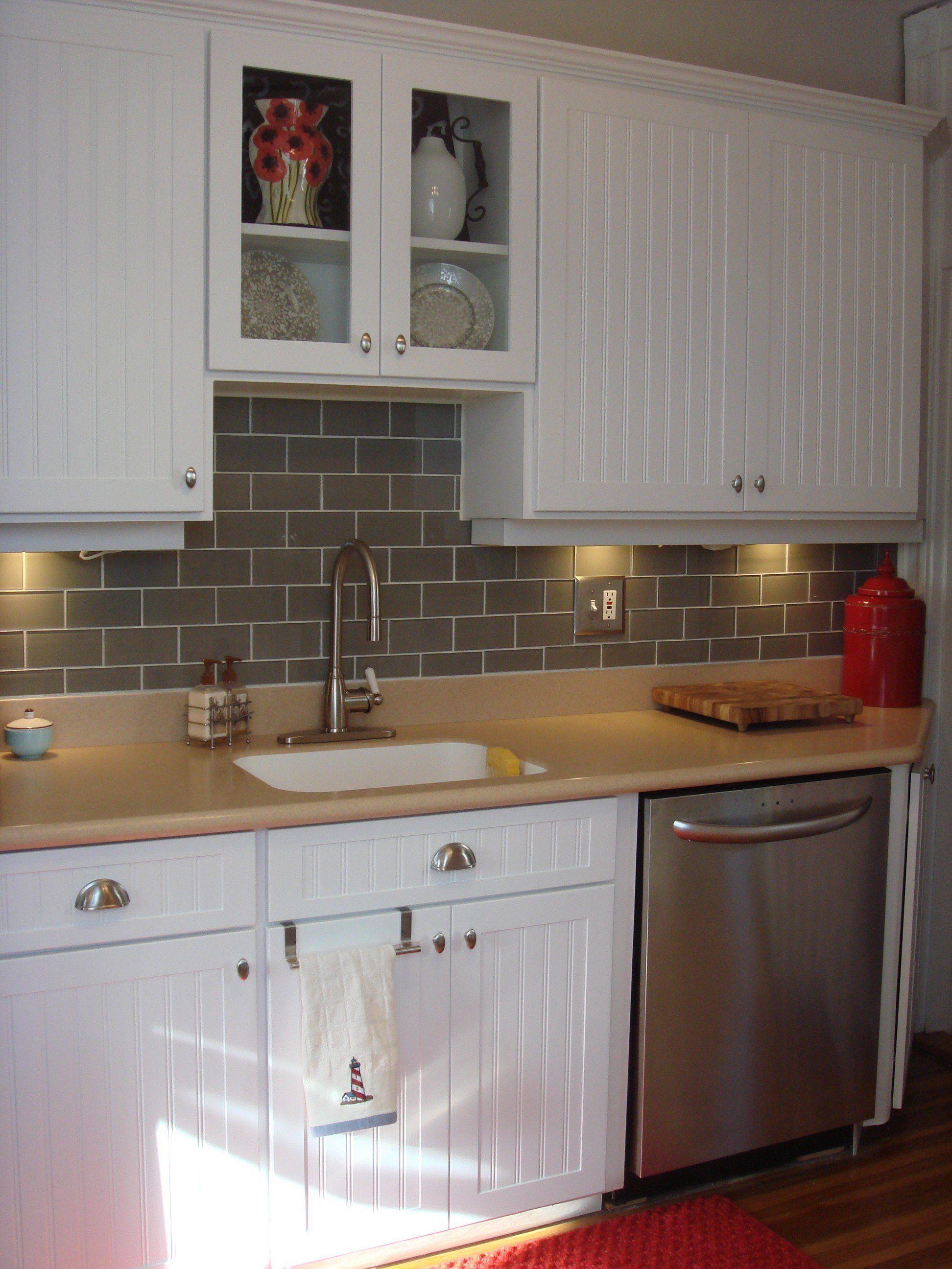 Lush Taupe 3x6 Pale Gray Beige Gl Subway Tile Kitchen Backsplash Installation