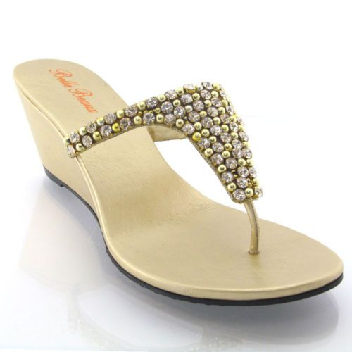 New womens flat diamante toe post ladies sparkly dressy party sandals