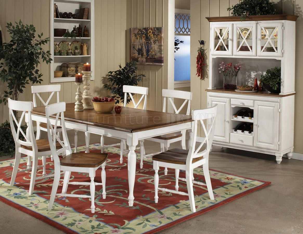 Elegant Warm Oak U0026 White Two Tone Finish Modern Dining Table W/Options Part 4
