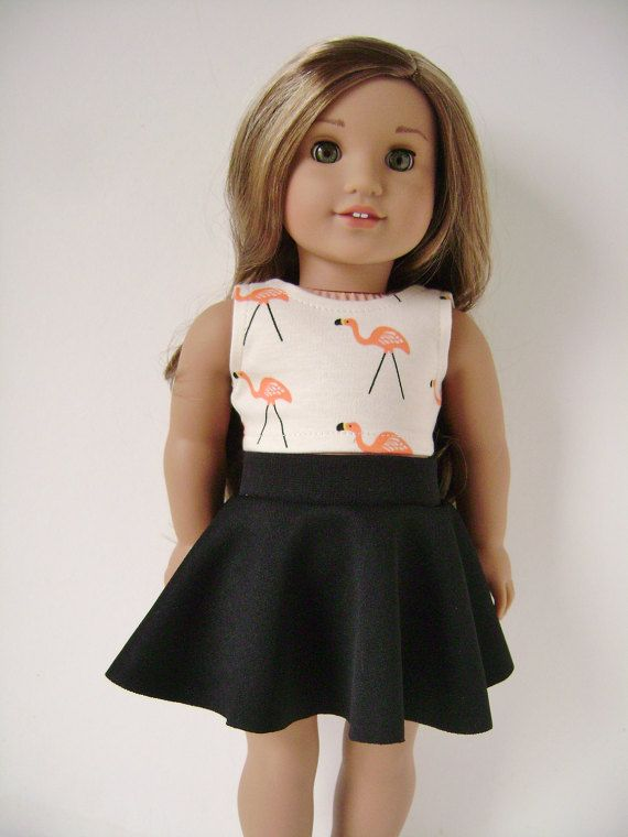 18 doll clothes, Flamingo crop top with black skater skirt , 18 inch #dollclothes