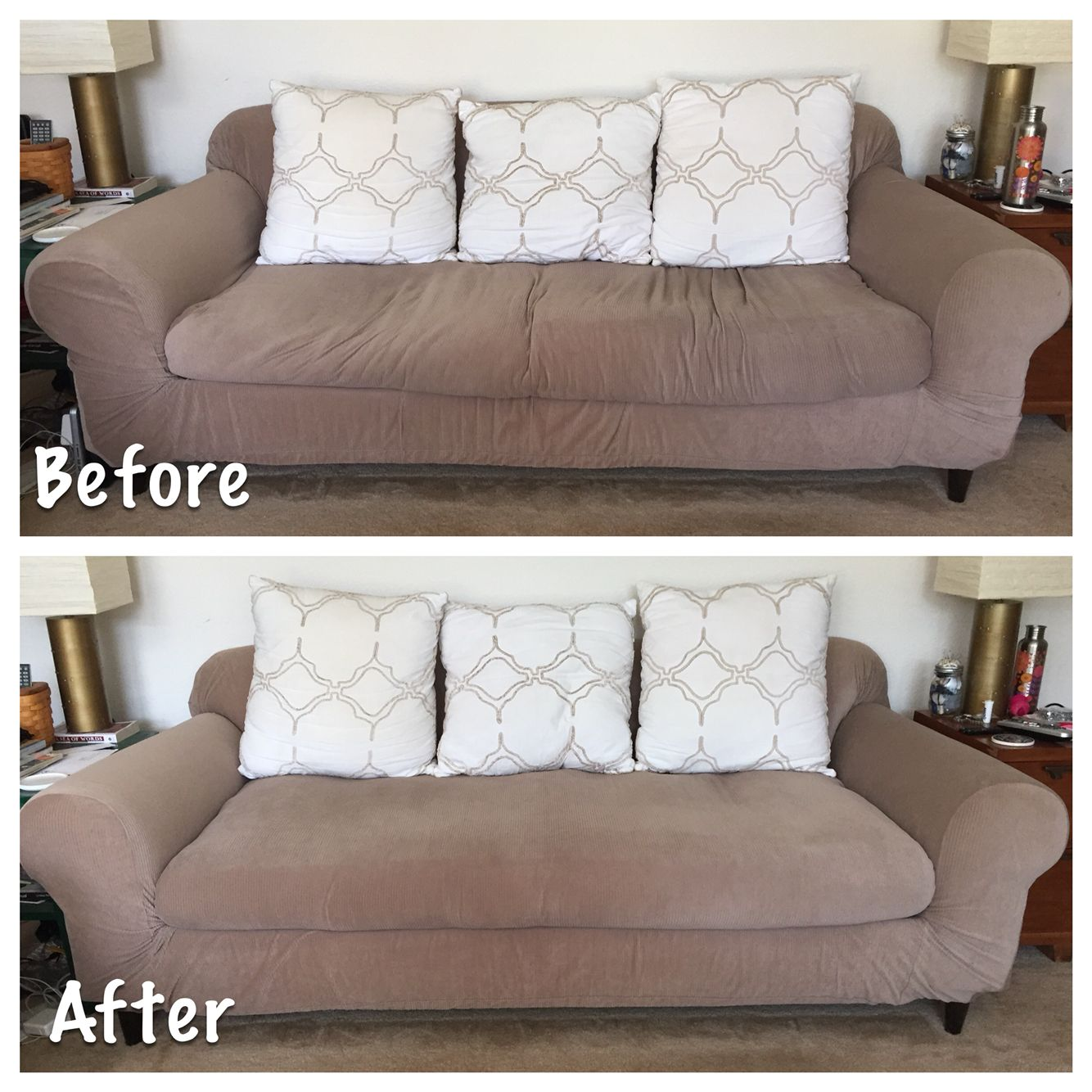 Restuffed Bottom Couch Cushion With Foam Mattress Topper Batting And An Old Sheet 4 19 15