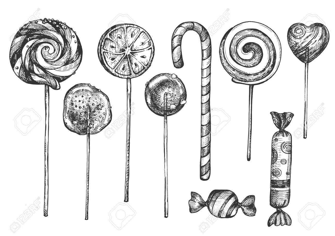 Vector Illustration Of Sweet Candies On Sticks Set Different Lollipops Desserts Types Like Swirly Dumdum Sugar Fruit Heart Candy Shop Assortment Child Tre