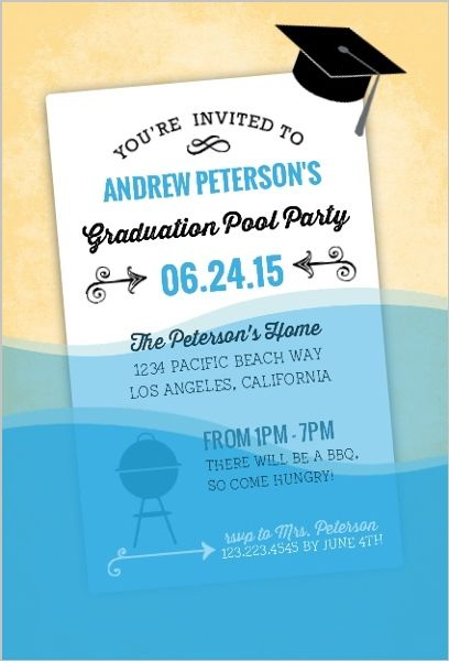 fun wet paper graduation pool party invitation by inviteshop com