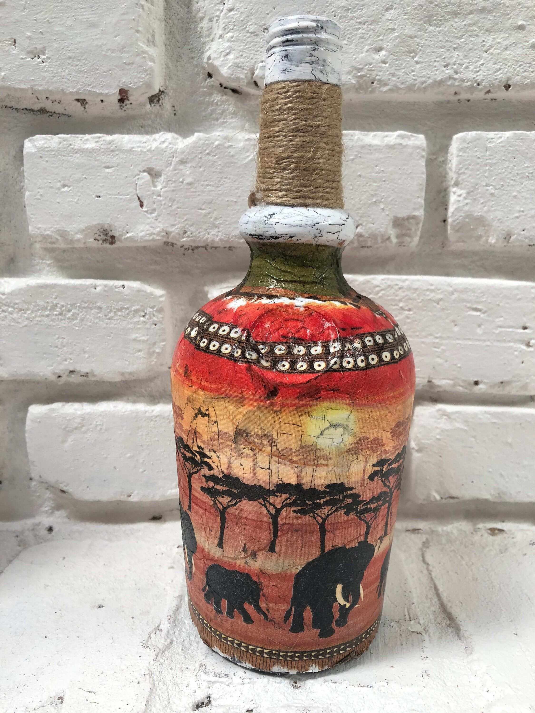 Excited To Share This Item From My Etsy Shop Antique Looking Decoupaged Liquor Bottle Bottle Crafts Bottles Decoration Hand Painted Bottles