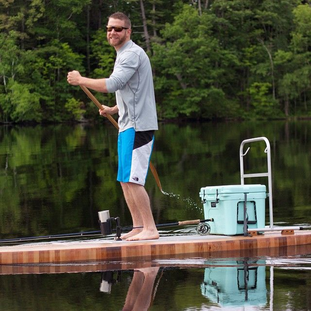 Kent is all smiles... He has no reason to not smile doing what he loves. #smile #love #happy #happiness #newhampshire #lake #sup #standupjounal #standuppaddle #paddle #paddleboarding #wood #woodworking @yeticoolers @shawandtenney