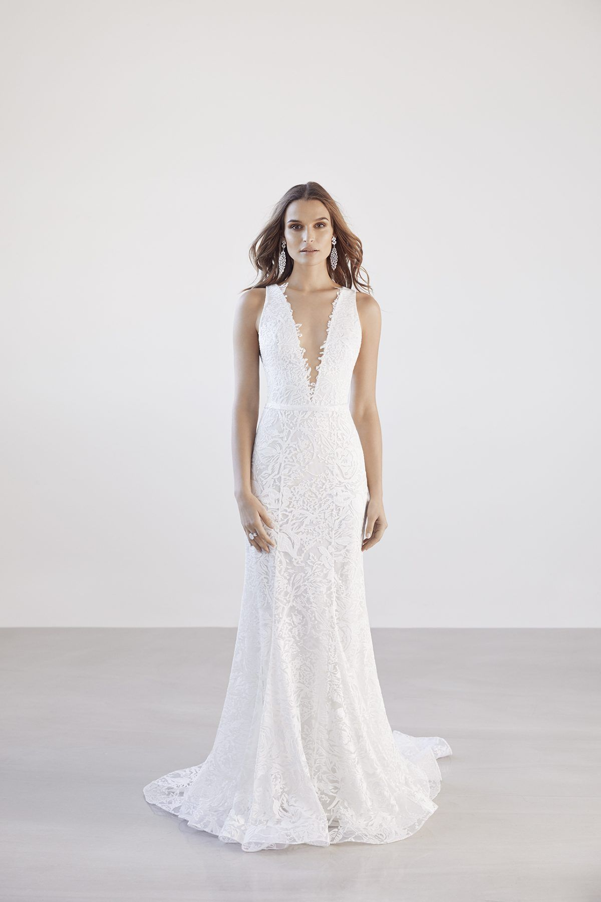 Vneck lace fit and flare wedding dress suzanne harward style