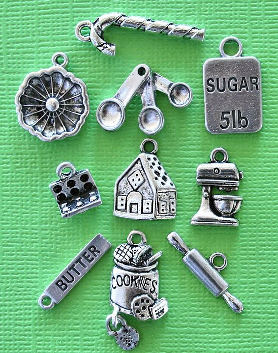 Tibetan Alloy WHISK Antique Silver Charms Cooking Egg Cake Beater Batter