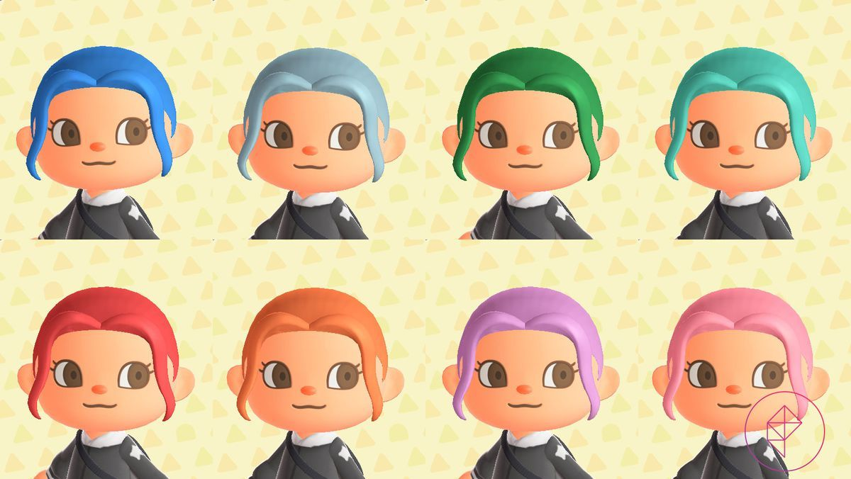 Animal Crossing New Horizons Switch Hair Guide Polygon In 2020 Animal Crossing Stylish Hair Colors Hair Guide