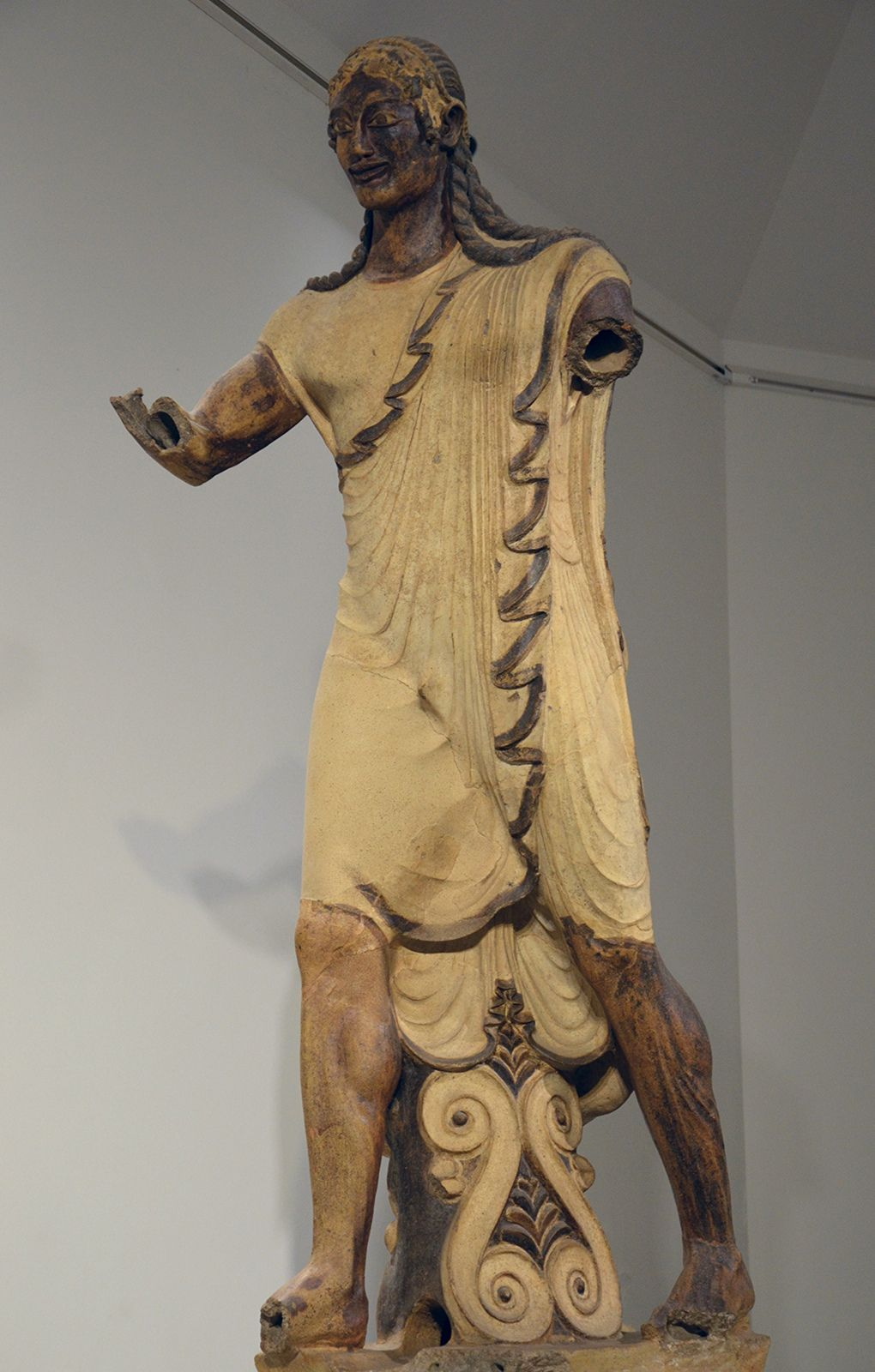 Apollo of Veii by Carole Raddato -- Large scale terracotta sculpture depicting the Apollo of Veii (the Etruscan Aplu). From the roof of the Portonaccio Temple at Veii (Italy ), around 510 BCE. (National Etruscan Museum of Villa Giulia, Rome )