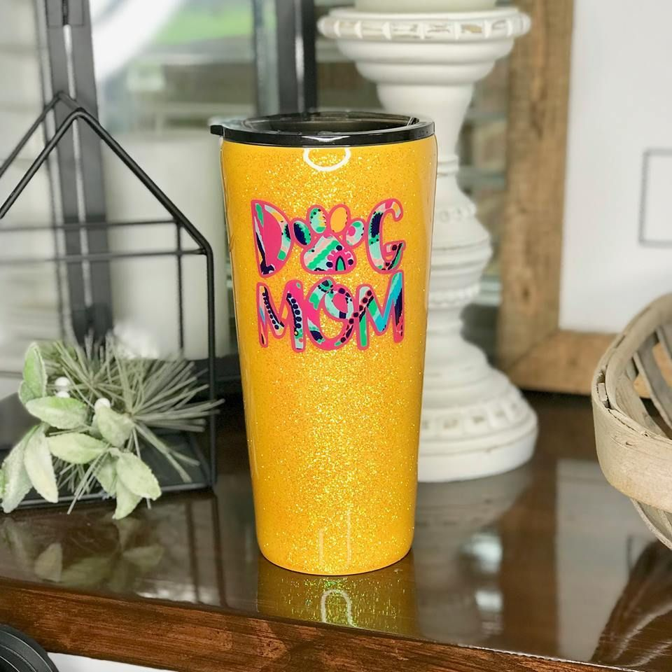 09f7be87990 The Dog Mom Glitter Stainless Steel Tumbler/Cup   Mugs and stuff ...