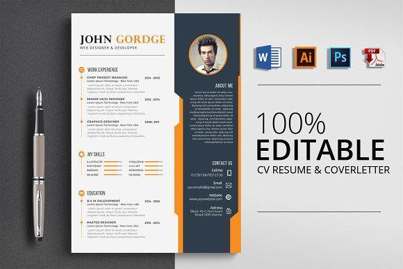 Creative CV Resume Template Word