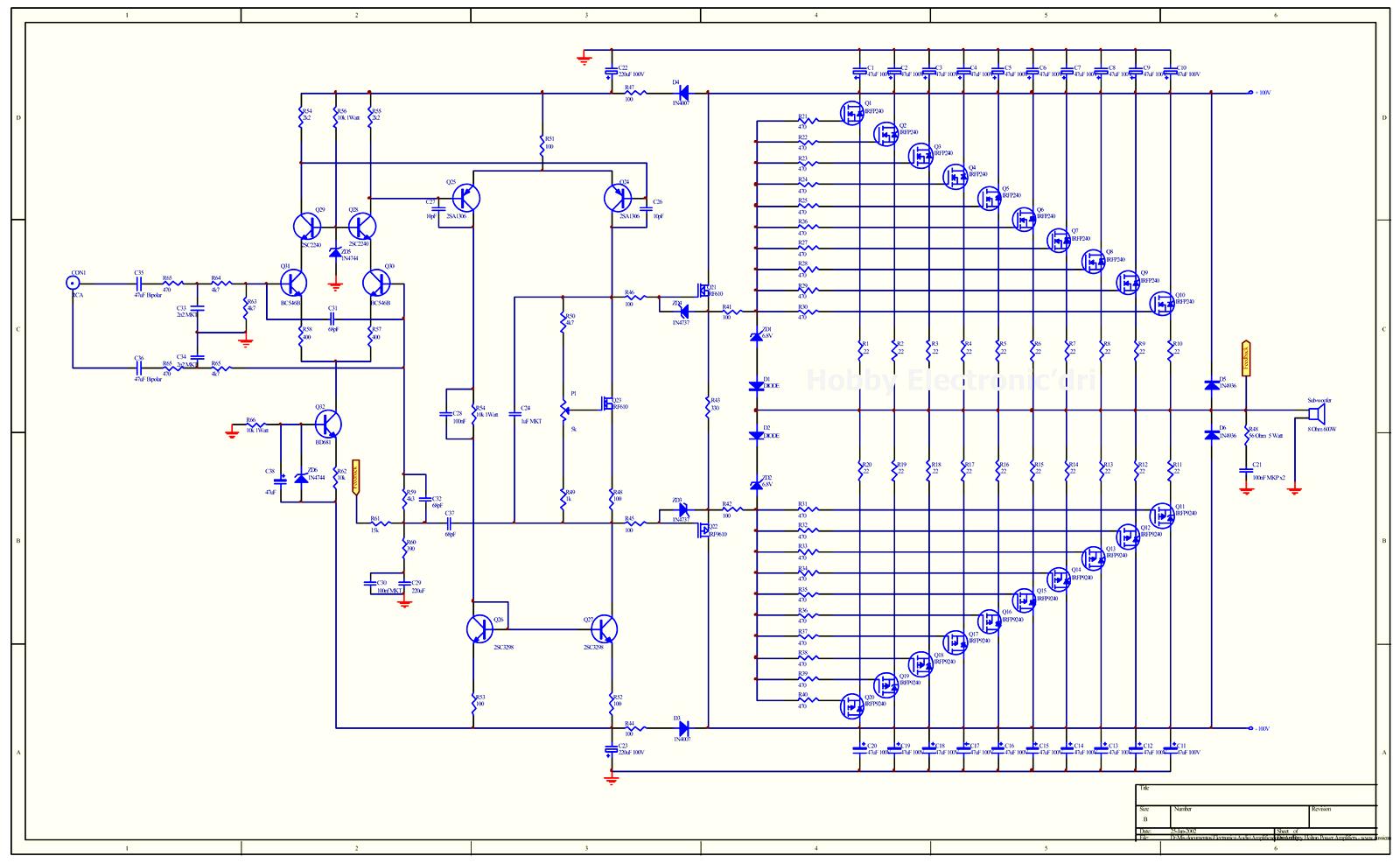 Component, Collection Scheme Audio Power Amplifier High